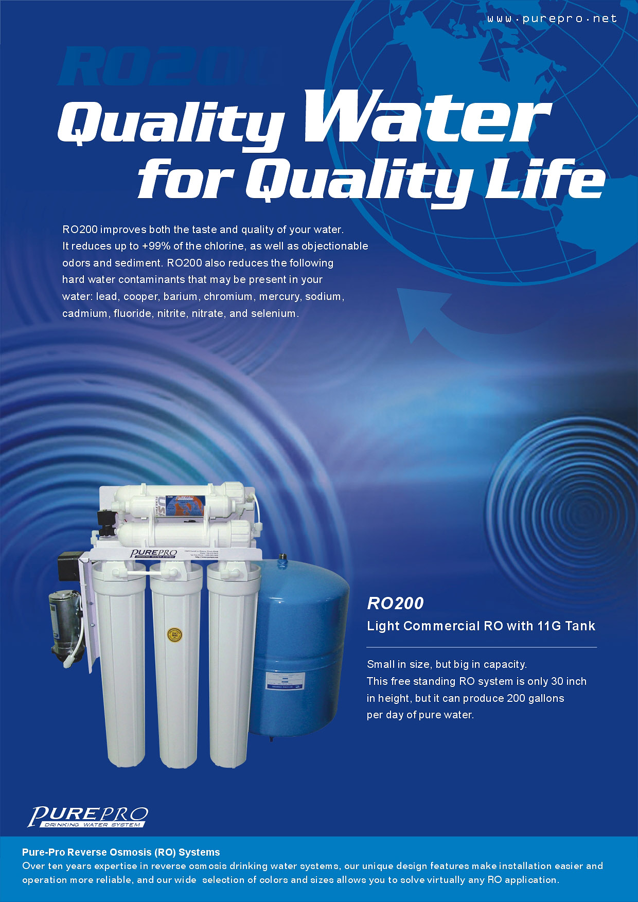 Home Water Filter >> PurePro® RO200 / RO-200 Reverse Osmosis RO Water Filter System